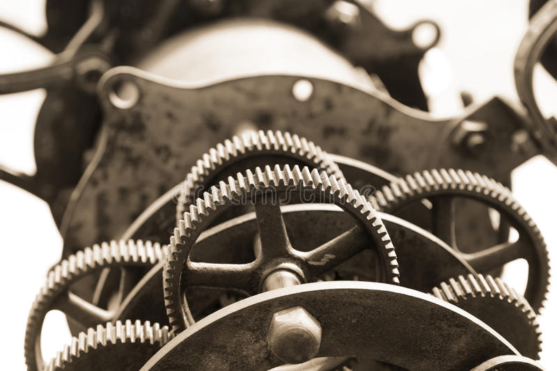 Old telescope gears. Close up shot of old telescope gears stock images
