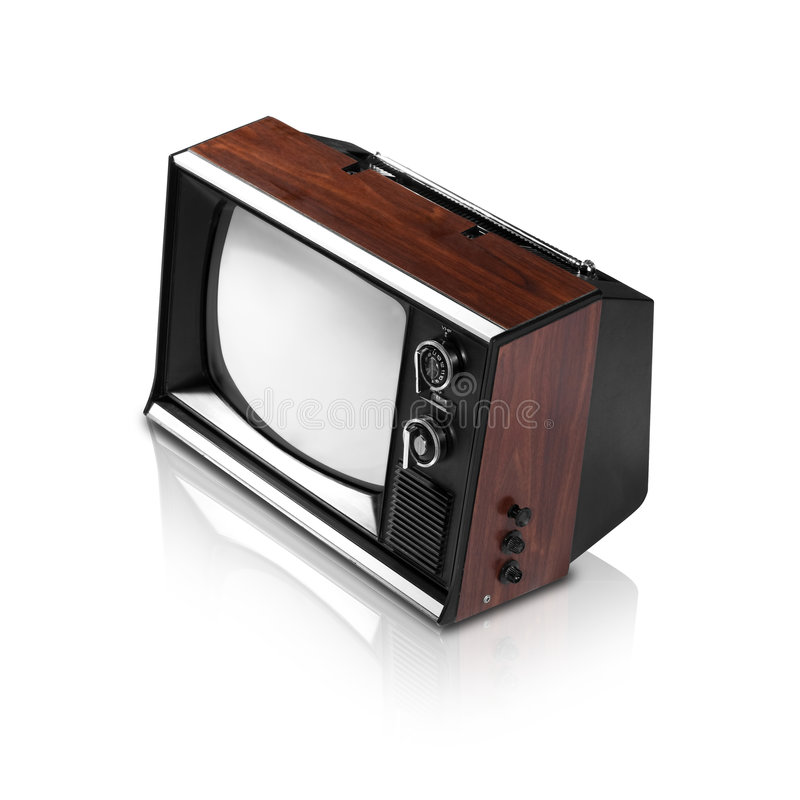 Old Television (with clipping path and reflection). It's an old television from 50-70's. The clipping path clips only TV out, not the reflection stock photography