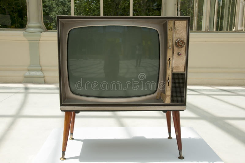 Old Television Set. On Display royalty free stock photography