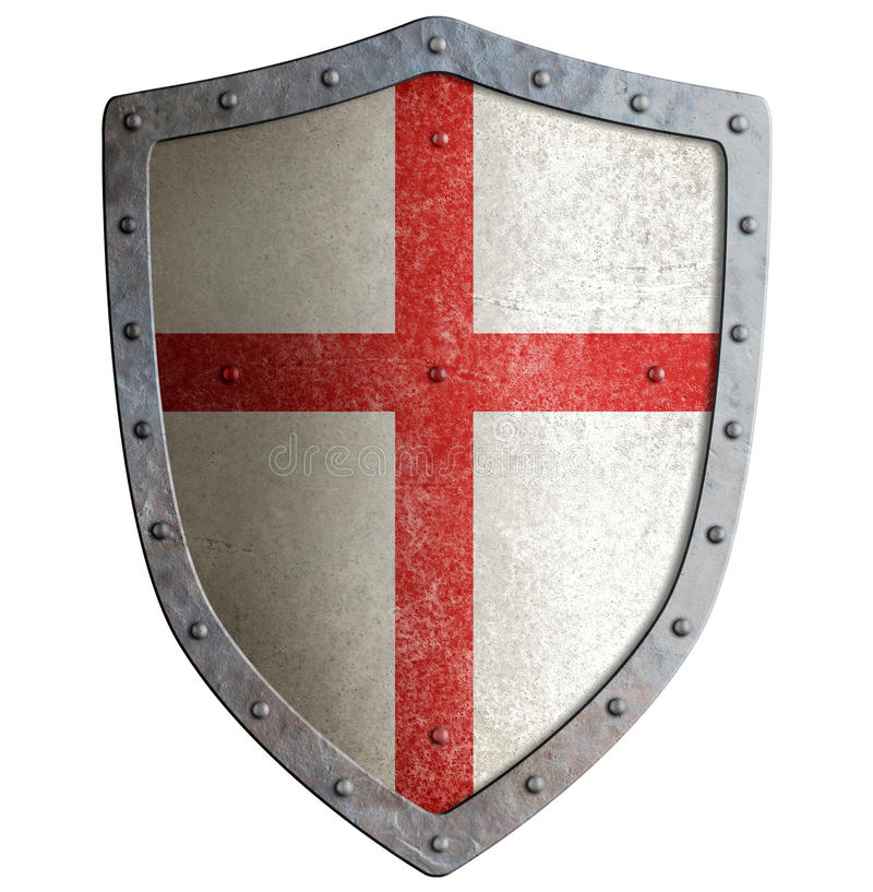 Old templar or crusader metal shield isolated. On white stock image