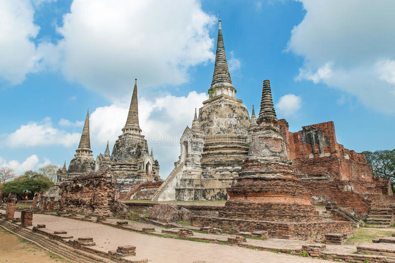 Old Temple Architecture , Wat Phra si sanphet at Ayutthaya, Thai royalty free stock images