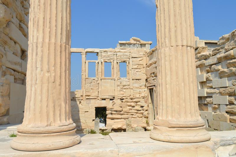 Old Temple of Athena, Acropolis in Athens, Greece on June 16, 2017. royalty free stock image
