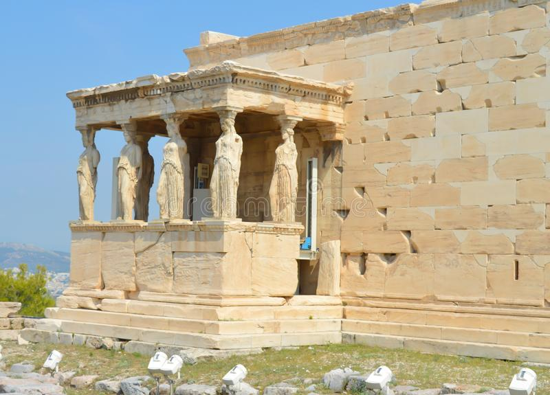 Old Temple of Athena, Acropolis in Athens, Greece on June 16, 2017. royalty free stock images