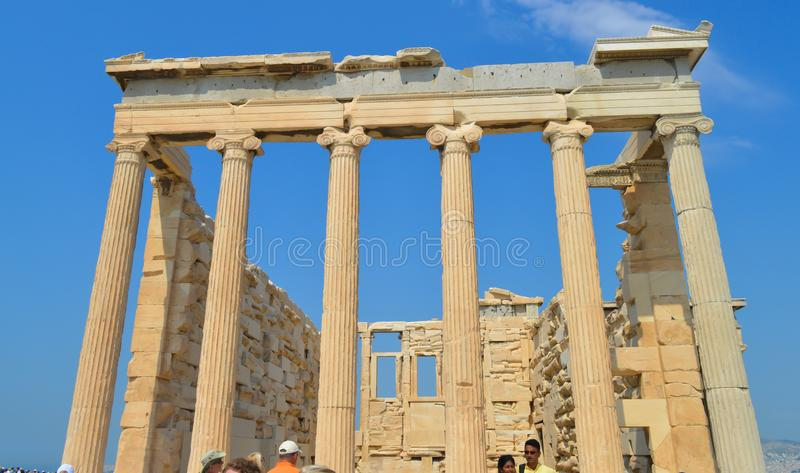 Old Temple of Athena, Acropolis in Athens, Greece on June 16, 2017. royalty free stock photos