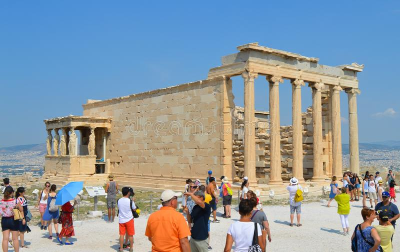 Old Temple of Athena, Acropolis in Athens, Greece on June 16, 2017. stock photos