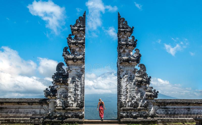 Old temple gate in Bali royalty free stock photo