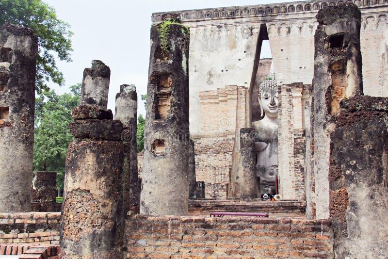 The Old Temple at Sukhothai Thailand. Wat Buddhism religion peace peaceful antique background landscape stone travel stock photo