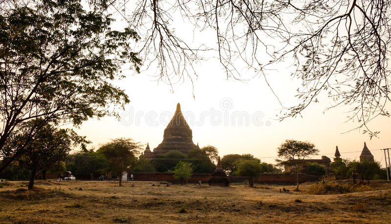 Old temple at sunset in Bagan, Myanmar royalty free stock photography