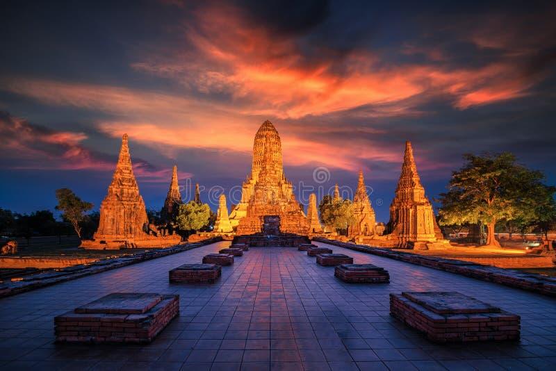 Old Temple wat Chaiwatthanaram of Ayutthaya Province stock photography