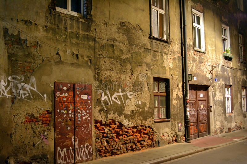 Old tenement house in downtown Krakow stock photo