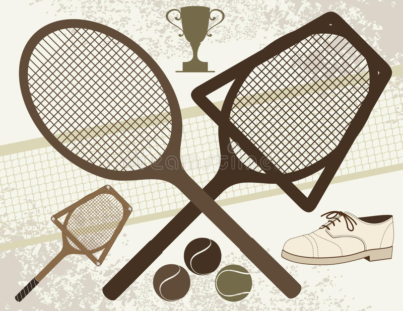 Old Tennis Elements - Vector Stock Images