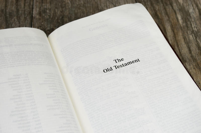 Old Testament Bible Page. Title page for the Old Testament in the Bible royalty free stock photography