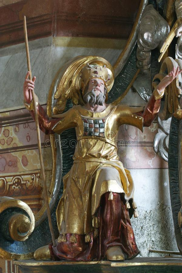 The Old Testament prophet. On the pulpit in the Church of Our Lady of the Snow in Belec, Croatia royalty free stock photo