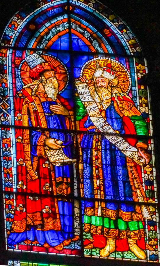 Old Testament Prophets Stained Glass Window Duomo Cathedral Florence Italy. Old Testament Prophets Stained Glass Window Duomo Cathedral Church Florence Italy stock image