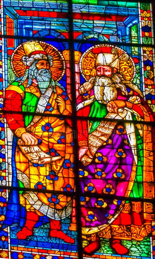 Old Testament Saints Stained Glass Duomo Cathedral Florence Ital. Old Testament Saints Stained Glass Duomo Cathedral Church Florence Italy. Stained glass ifrom stock images