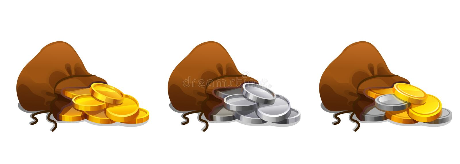 Old textile sack purse set with gold and silver coins. Old bag with gold and silver coins. Money bag set on white background. royalty free illustration