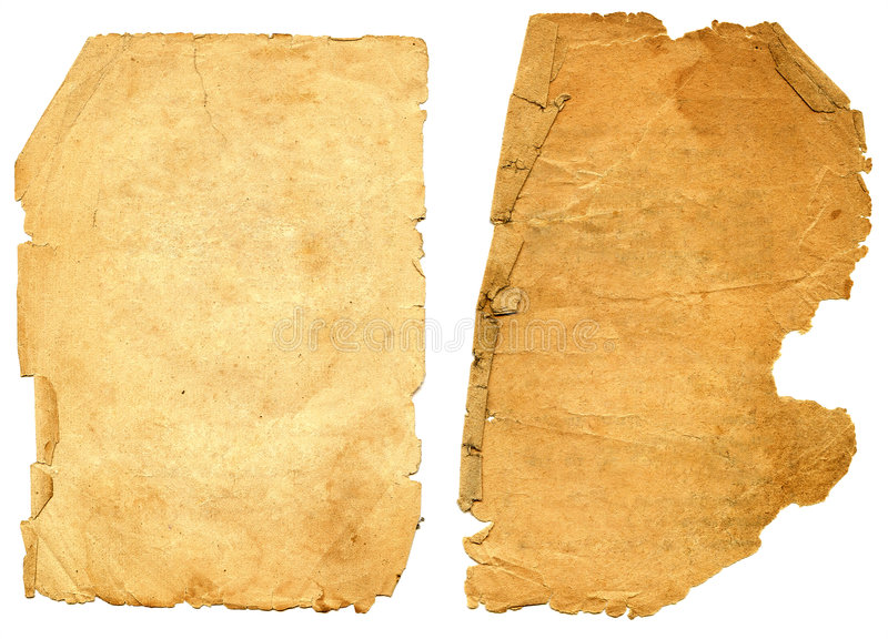 Old textured paper with decrepit edge. stock photography