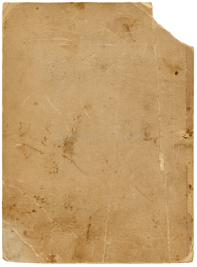 Old textured paper with tattered edge and clipping path. stock photography
