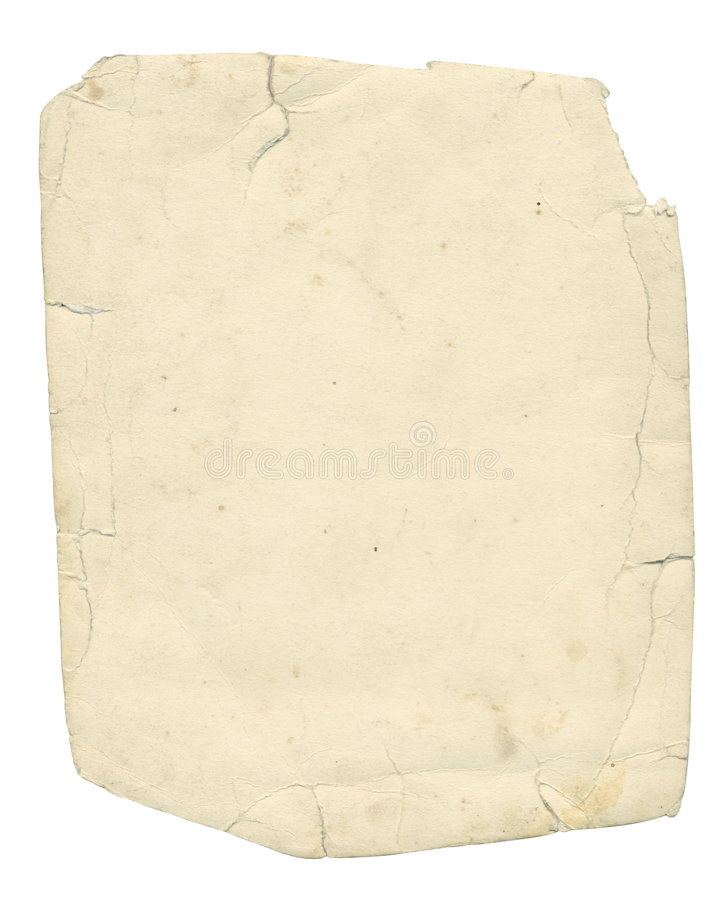 Old textured paper with tattered edge and clipping path. royalty free stock image