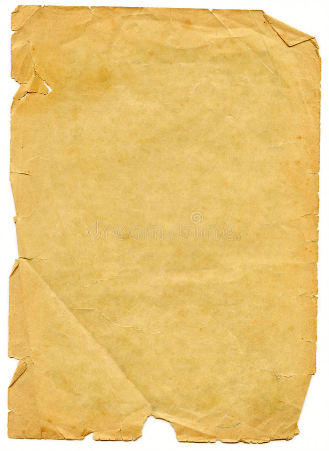 Free Old Textured Paper With Decrepit Edge. Stock Photography - 6453522