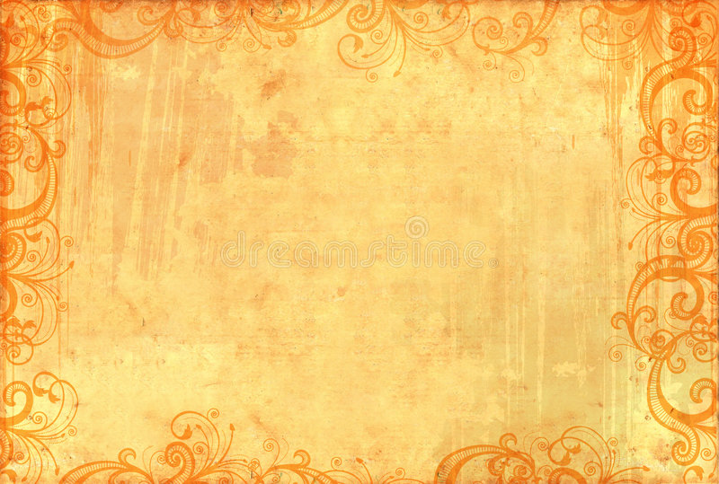 Old textured wallpaper with floral patterns. And ink splashes stock illustration