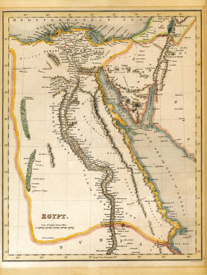 19th Century Egypt Map royalty free stock image
