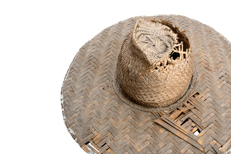 Old thai style Bamboo Hat on White Background stock images