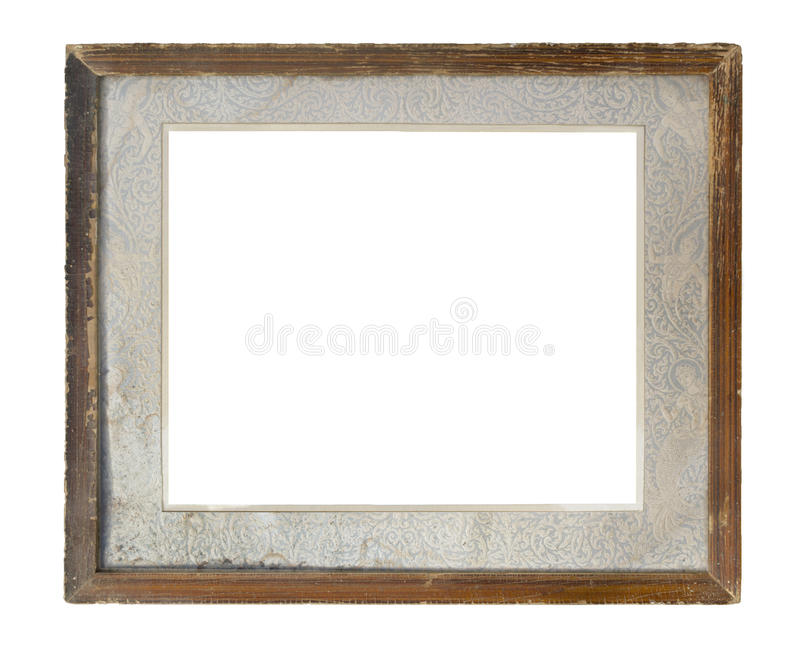 Old Thai style picture frame isolated on white background stock photo