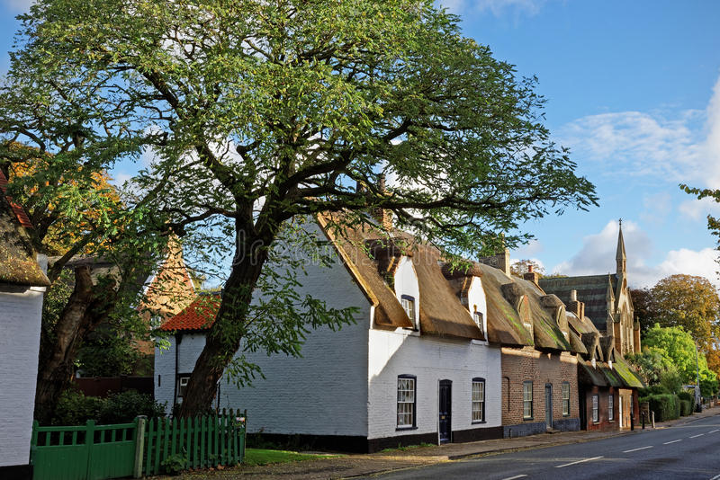 Old Thatched Cottages in a UK Town royalty free stock photo