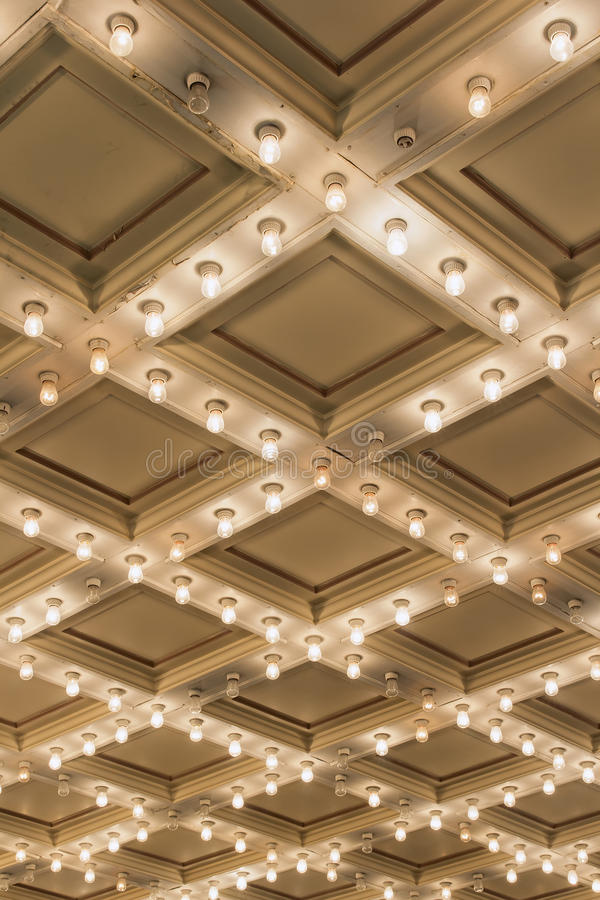 Free Old Theater Marquee Ceiling Lights Vertical Stock Photography - 35934952