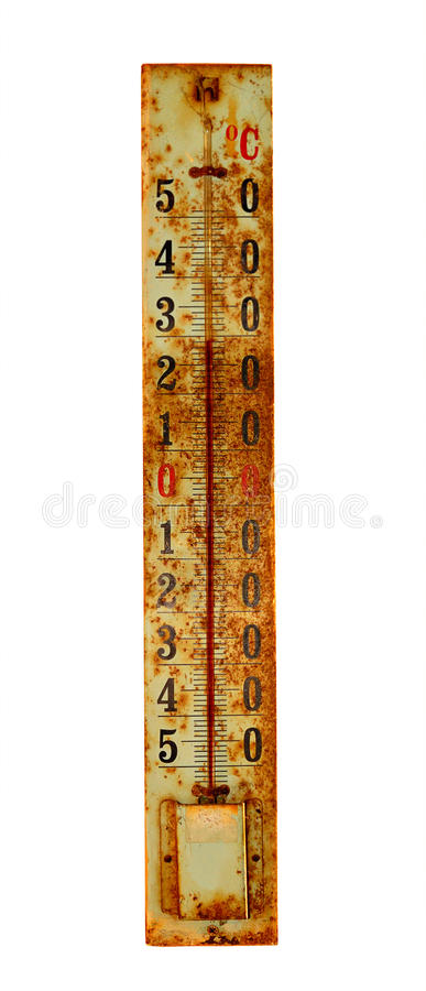 Old thermometer isolated on the white stock images