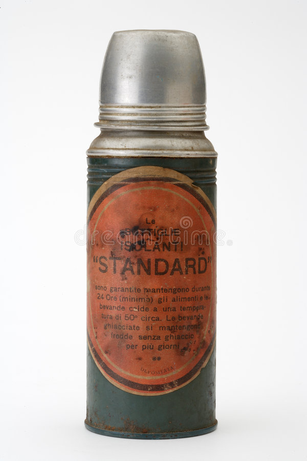 Old thermos. White background isolated stock image