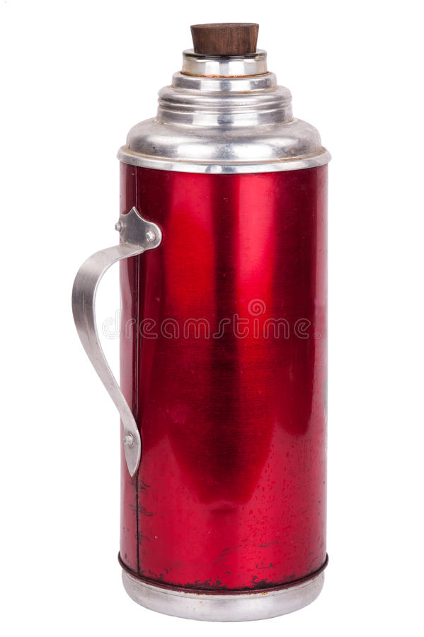 Old thermos. On white background royalty free stock photography