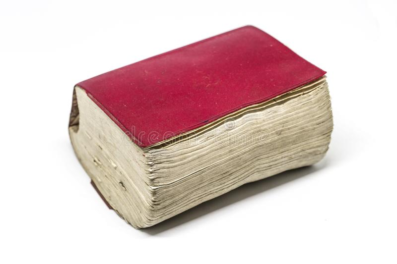 Old Thick book, dictionary or bible. On white background stock images