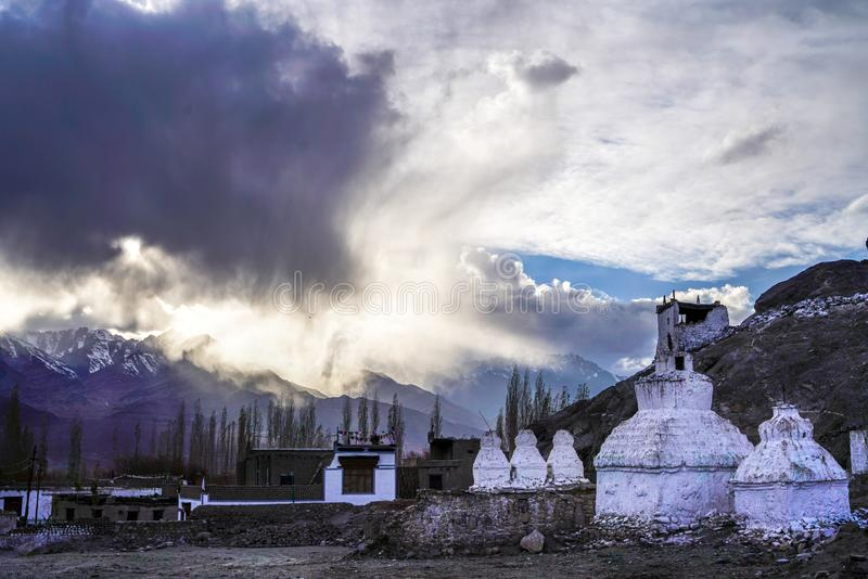 The old Thiksay monastery in Theksey small village royalty free stock photo