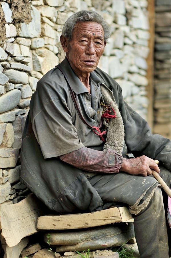 Old tibetan man portrait stock photography