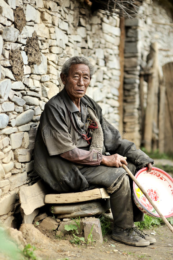 Old tibetan man portrait stock image