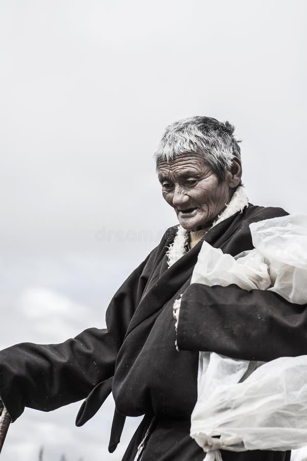 An old tibetan woman stock photography