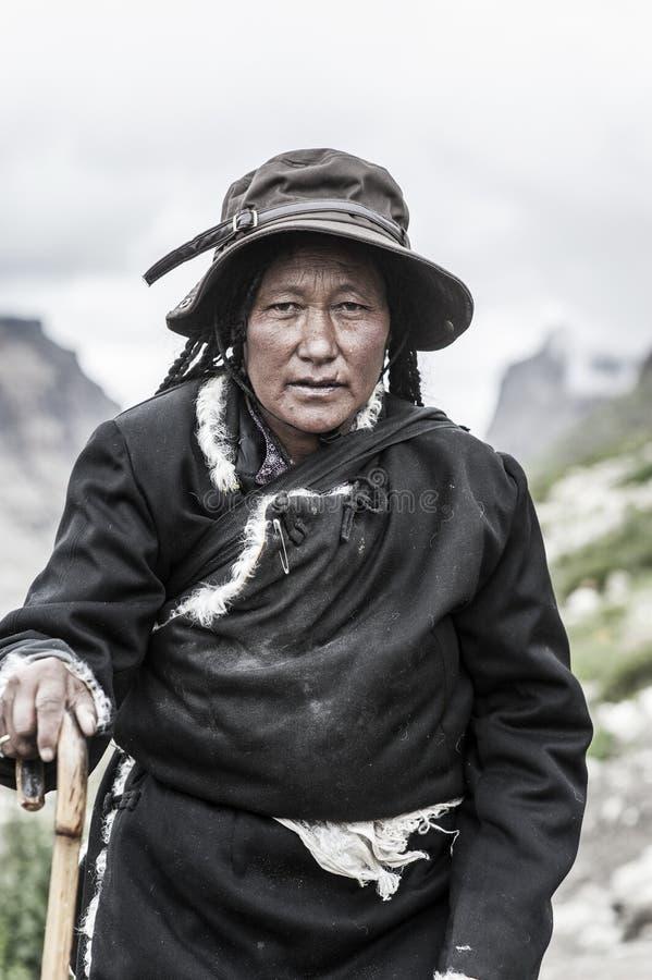 An old tibetan woman stock photo