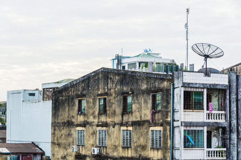 Old and Tight apartment in Yangon 2 stock photo