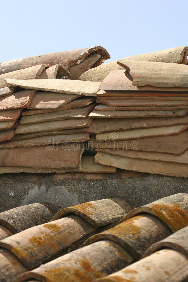 Old tile roof royalty free stock photos