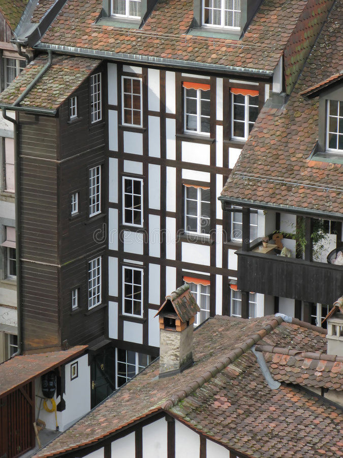Old tiled houses stock images