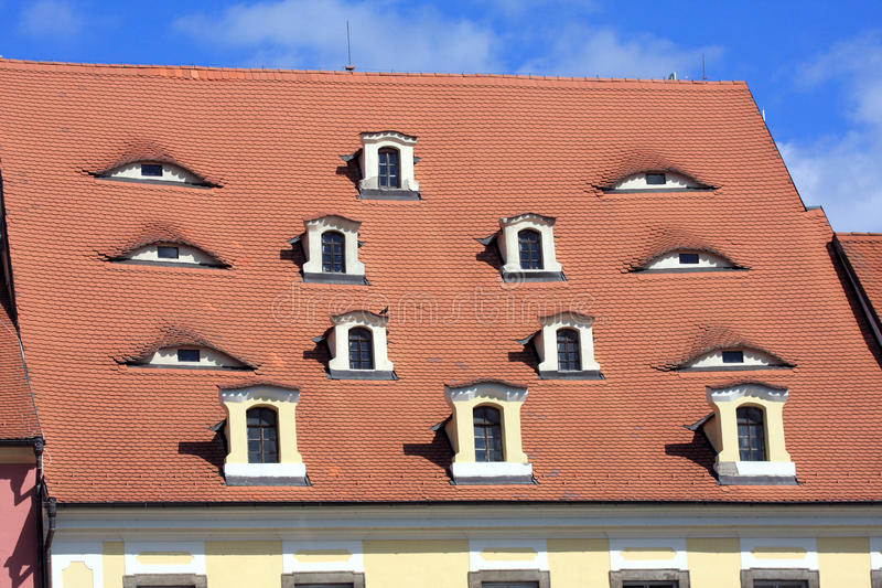 Download Old Tile Roof With Windows Look As Eyes, Cheb - Czech Republic Stock Photo - Image: 13938412