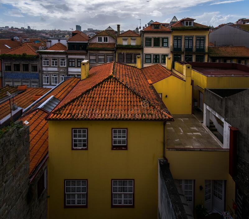 Old tiled roofs of the old city of Porto. Portugal. Old tiled roofs of the old city of Porto. Old Portugal stock images