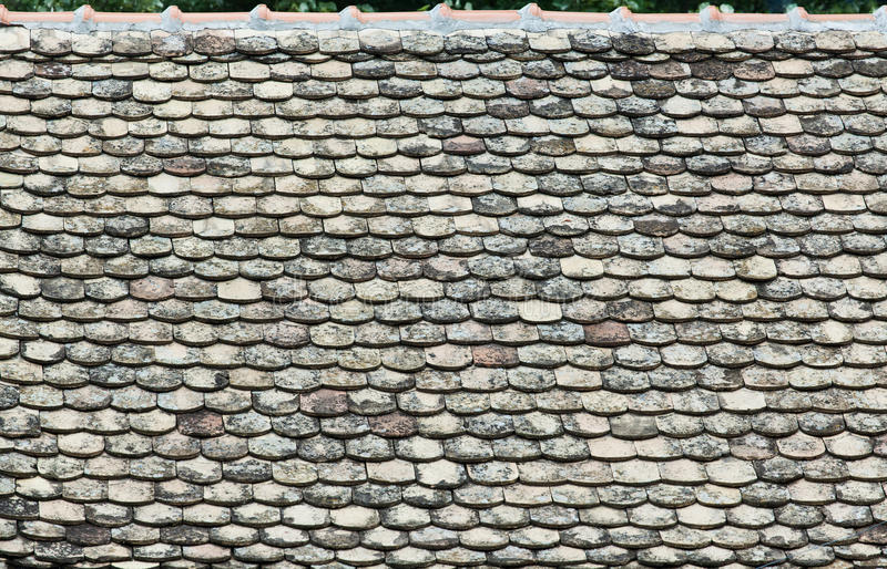 Old tiles on the roof royalty free stock image