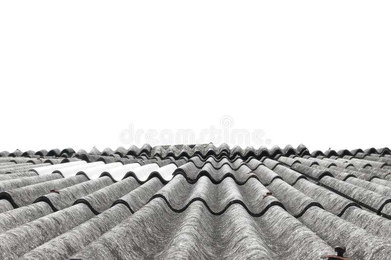 Old tiles roof on white background. Old tiles roof isolated on white background stock image
