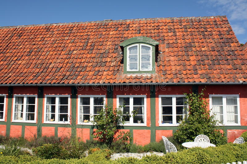 Old timber frame house. On the island Bornholm in Denmark stock images