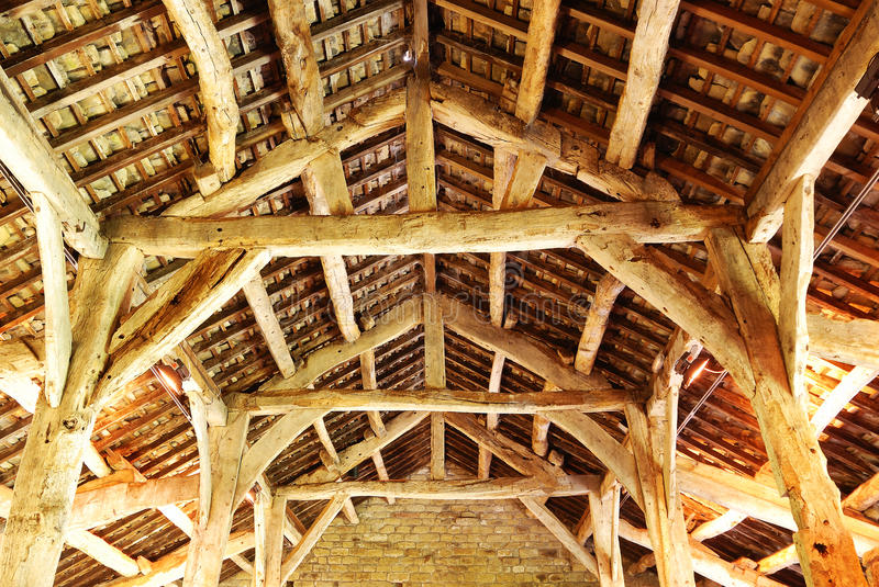 Download An old timber roof stock photo. Image of shed, columns - 15835190