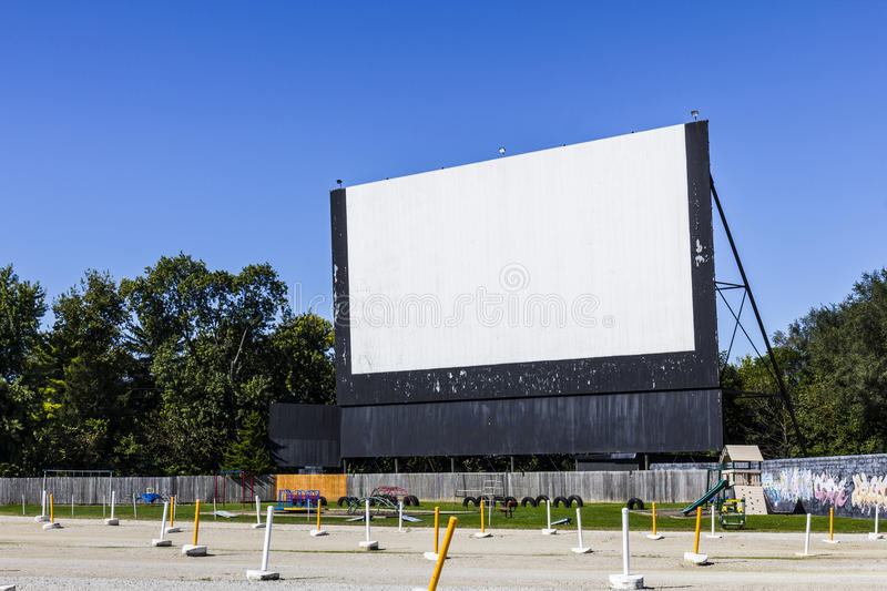 Old Time Drive-In Movie Theater with Outdoor Screen and Playground I. Old Time Drive-In Movie Theater with Outdoor Screen and Playground royalty free stock photo