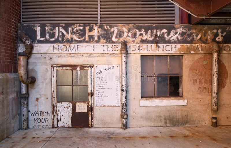 An oldtime lunch counter from the early 1900`s in an industrial area. royalty free stock image